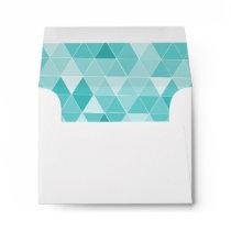 Turquoise triangle pattern liner wedding envelope