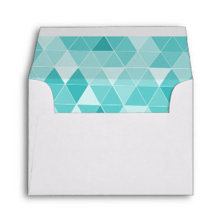 Turquoise triangle pattern liner wedding envelope