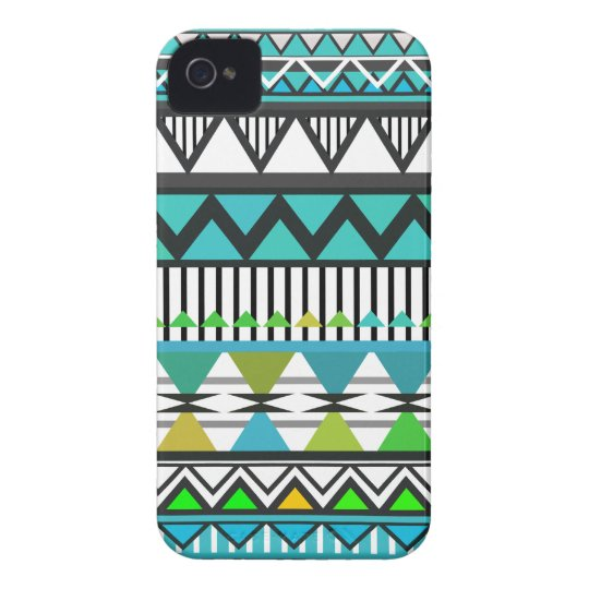 Turquoise Tribal 2 Pattern iPhone 4 Case