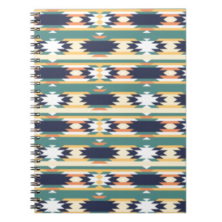 Turquoise Tribal Aztec Patterns Spiral Notebook