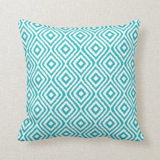 Turquoise Tribal Ikat Diamond Pattern Throw Pillows