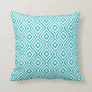 Turquoise Tribal Ikat Diamond Pattern Throw Pillow