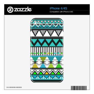 Turquoise Tribal Pattern  iPhone 4/4S Skin Decal For The iPhone 4S