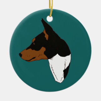 Turquoise Tricolor Basenji Ornament