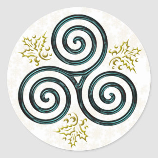 Turquoise Triple Spiral & Holly - Sticker