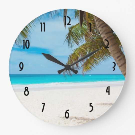 Turquoise Tropical Beach Large Clock Zazzle Com