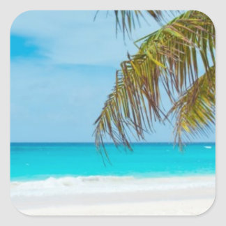 Turquoise Tropical Beach Square Sticker