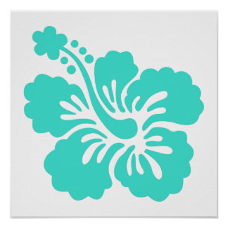Turquoise Tropical Hibiscus Flower Poster