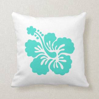 Turquoise Tropical Hibiscus Flower Throw Pillow