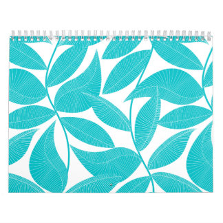 Turquoise tropical leaves calendar