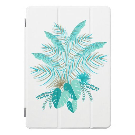 Turquoise Tropical Leaves iPad Pro Cover