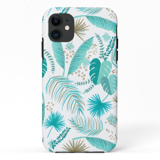 Turquoise Tropical Leaves Pattern iPhone 11 Case