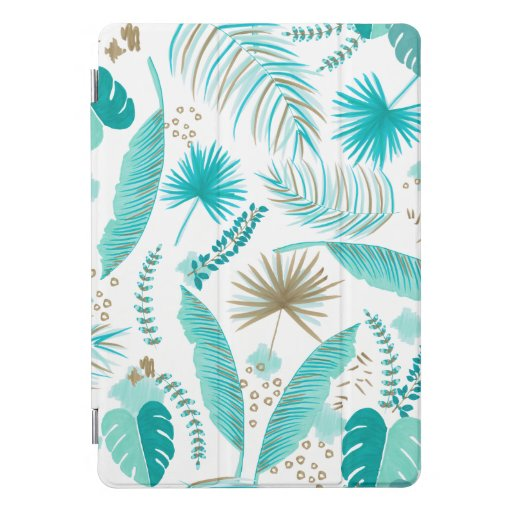 Turquoise Tropical Leaves Pattern iPad Pro Cover