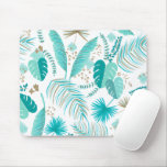 Turquoise Tropical Leaves Pattern Mouse Pad
