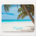 "Turquoise Tropical Sandy Beach Personalized Mouse Pad<br><div class=""desc"">Secluded serene and peaceful tropical white sandy beach. Calm turquoise waters and a few palm trees for shade. The perfect location for some rest and relaxation. Personalize with a name.</div>"
