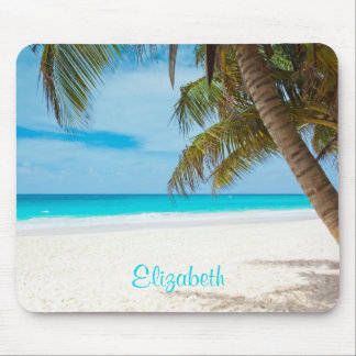 Turquoise Tropical Sandy Beach Personalized Mouse Pad
