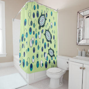 Turquoise Turtle 37 1 Mint Shower Curtain