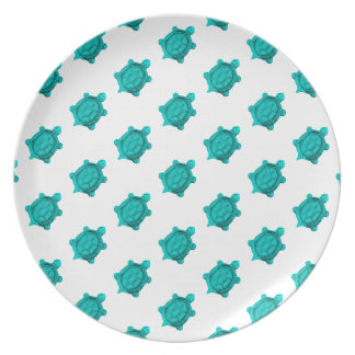 Turquoise Turtles Pattern Party Plate
