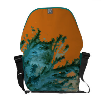 Turquoise undersea design with orange exterior messenger bag