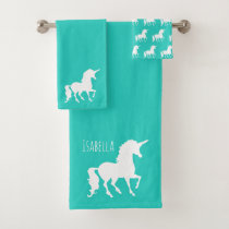 Turquoise Unicorn Silhouette Personalized Kids Bath Towel Set