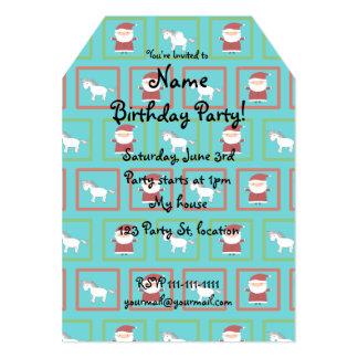 Turquoise unicorns santa claus pattern 5x7 paper invitation card