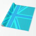 Turquoise Union Jack British Flag Customise it Gift Wrap