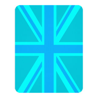 Turquoise Union Jack British Flag Design Card