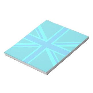 Turquoise Union Jack British Flag Design Notepad