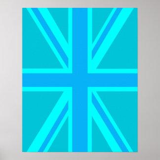Turquoise Union Jack British Flag Design Poster
