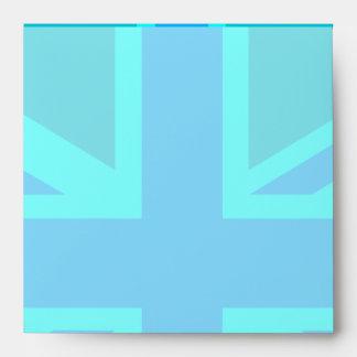 Turquoise Union Jack Flag Customise it Envelope