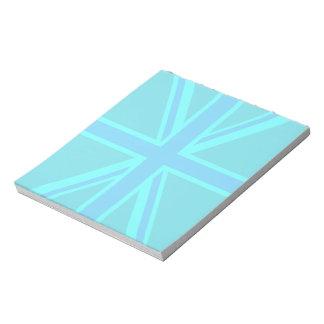 Turquoise Union Jack Flag Decor Notepad