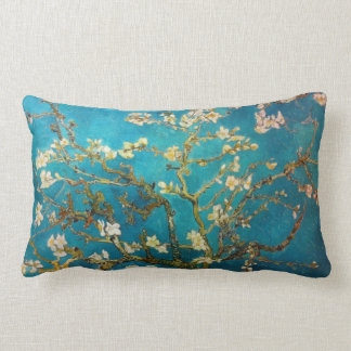 Turquoise Van Gogh Blossoming Almond Tree Lumbar Pillow
