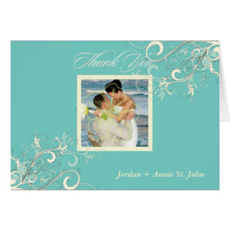 Turquoise+Vanilla Swirls Photo Thank You DIY color Greeting Card