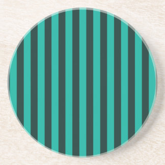 Turquoise Vertical Stripes Style Graphic Drink Coaster