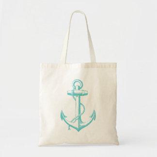 Turquoise Vintage Anchor Illustration Budget Tote Bag