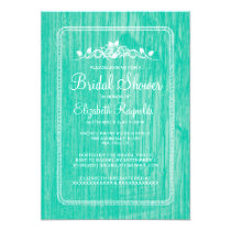 Turquoise Vintage Barn Wood Bridal Shower Invites