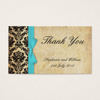 Turquoise Vintage Bow Damask Thank You Cards
