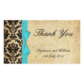 Turquoise Vintage Bow Damask Thank You Cards Double-Sided Standard Business Cards (Pack Of 100)