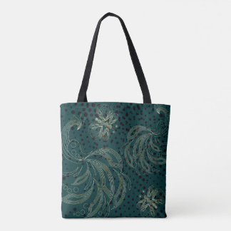 Turquoise vintage butterfly and peacocks tote bag