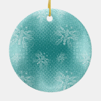 Turquoise vintage butterfly xmas tree ceramic ornament