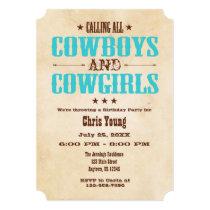 Turquoise Vintage Cowboy Birthday Invitation