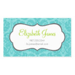 Turquoise Vintage Damask Double-Sided Standard Business Cards (Pack Of 100)