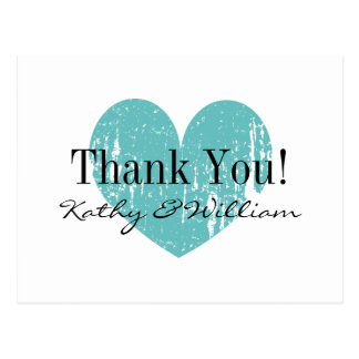 Turquoise vintage heart wedding thank you cards