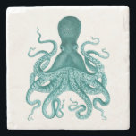 "Turquoise Vintage Octopus Illustration Stone Coaster<br><div class=""desc"">Vintage Turquoise Vintage Octopus Illustration.</div>"