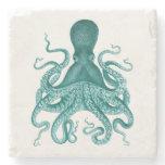 Turquoise Vintage Octopus Illustration Stone Coaster<br><div class='desc'>Vintage Turquoise Vintage Octopus Illustration.</div>