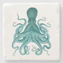 Turquoise Vintage Octopus Illustration Stone Coaster