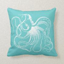 Turquoise Vintage Octopus & Nautical Stripes Throw Pillow