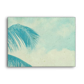 Turquoise Vintage Palm Tree Envelope
