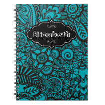 Turquoise vintage retro floral pattern notebook