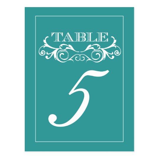 Turquoise Vintage Swirl Wedding Table Number Cards